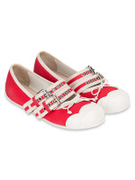MIU MIU Buckle Embellished Canvas Ballet Flats Red Sz 37