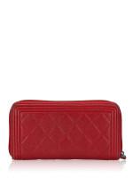 CHANEL Caviar Boy Zip Wallet Red