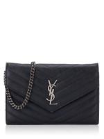 YSL Grain De Poudre Matelasse Chevron Monogram Chain Wallet Black Silver