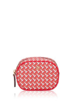 TORY BURCH Tile Tzag Allover Cosmetic Pouch Red
