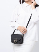 AIGNER Pina Mini Leather Crossbody Black