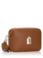 FURLA Sleek Leather Mini Crossbody Cognac