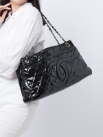 CHANEL Quilted Patent Timeless Shopping Tote Black