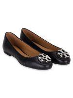 TORY BURCH Claire Tumbled Leather Flats Black Silver Sz 6.5