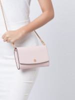 TORY BURCH Robinson Chain Wallet Shell Pink