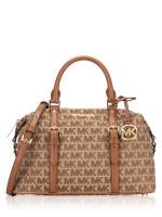 MICHAEL KORS Ginger Monogram Large Duffle Beige Ebony Luggage