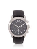 MICHAEL KORS Men MK8668 Mercer Leather Chronograph Black Silver