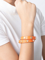 TORY BURCH Leather Logo Stud Double Wrap Bracelet Orange
