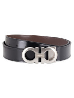 SALVATORE FERRAGAMO Men Reversible Gancini Belt Black Brown Sz 105