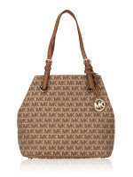 MICHAEL KORS Jet Set Item Signature Grab Bag Beige Ebony Luggage