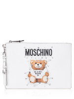 MOSCHINO Teddy Bear Safety Pin Leather Clutch White
