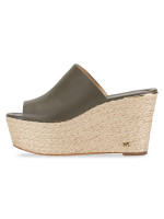 MICHAEL KORS Cunningham Leather Wedge Olive Sz 6
