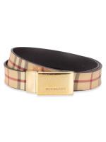 BURBERRY Haymarket Check Springfield 30MM Reversible Belt Beige Brown
