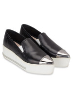 MIU MIU Nappa Pointed Cap Toe Platform Sneakers Black Sz 34.5