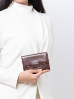 TOD'S Patent Leather Bi-Fold Wallet Brown
