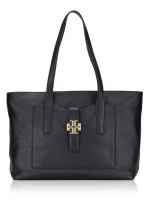 TORY BURCH Meyer Plaque Leather Tote Black