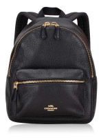 COACH 28995 Pebbled Leather Mini Charlie Backpack Black