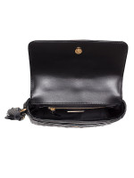 TORY BURCH Fleming Quilted Leather Satchel Black