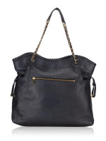 TORY BURCH Marion Chain Shoulder Slouchy Tote Black