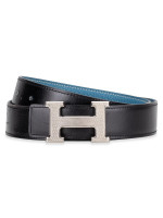 HERMES Taurillon Clemence 32mm H Belt Sz 90 Black Blue