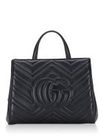 GUCCI GG Marmont Matelasse Small Top Handle Bag Black