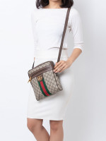 GUCCI GG Supreme Web Ophidia Small Messenger Beige Brown
