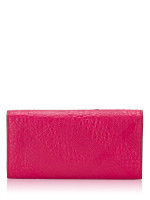 BURBERRY Embossed Check Grain Porter Continental Wallet Fuschia