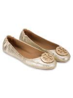 TORY BURCH Minnie Travel Ballet Flats Spark Gold Sz 7.5