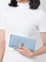 MICHAEL KORS Fulton Leather Flap Continental Wallet Pale Blue