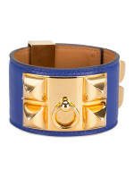 HERMES Swift Collier de Chien CDC Bracelet Blue Sz S