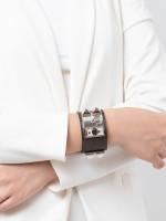 HERMES Lizard Collier de Chien CDC Bracelet Havane Silver Sz S