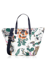 TORY BURCH Tilda Printed Nylon Small Tote Ivory Happy Times
