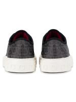 SALVATORE FERRAGAMO Men Anson Gancini Print Low-top Sneakers Grey Sz 8