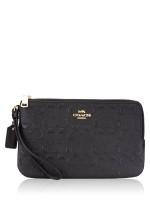 COACH 87934 Signature Leather Double Zip Wallet Black