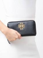 TORY BURCH Britten Zip Leather Wallet Black