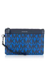 MICHAEL KORS Men Leather Travel Pouch Navy Atlantic Blue
