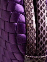 BOTTEGA VENETA Knot Satin Water Snake Clutch Purple