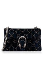 GUCCI Dionysus GG Small Velvet Shoulder Bag Navy