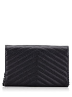 YSL Grain De Poudre Matelasse Chevron Monogram Chain Wallet Black