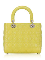 CHRISTIAN DIOR Cannage Medium Lady Dior Lime