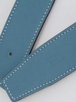 HERMES Swift Epsom 32mm H Belt Blue Jean Blanc Sz 85