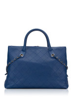 CHANEL Quilted Grained Calfskin Urban Shopping Tote Blue