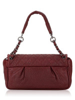 CHANEL Goatskin Quilted Coco Pleats Shoulder Bag Maroon