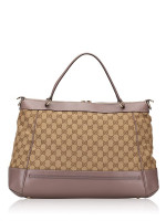 GUCCI GG Canvas Mayfair Top Handle Bag Beige Purple