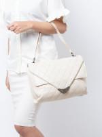 CHANEL Quilted Envelope Double Flap Shoulder Bag Off White