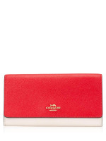 COACH 87932 Colorblock Trifold Wallet Bright Red Multi