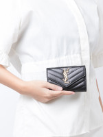 YSL Grain De Poudre Matelasse Monogram Small Envelope Wallet Black