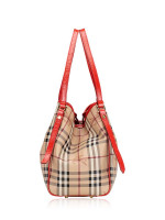 BURBERRY Haymarket Check Small Canterbury Tote Coral Red