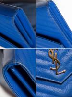 YSL Grain de Poudre Matelasse Chevron Monogram Chain Wallet Blue Majorelle Gold