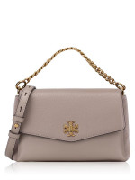 TORY BURCH Kira Mixed Materials Crossbody Gray Heron